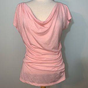 INC light pink short sleeve sheer top